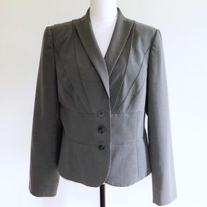 Calvin Klein Blazer Jacket Stretch Pleated Gray 14